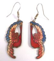 Vintage Cloisonne Enamel Swan Bird Drop Earrings.